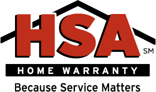 HSA home warranty logo with tagline of because service matters.
